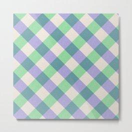 Green blue ivory violet geometric checker gingham Metal Print