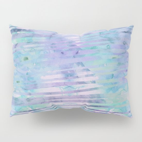 Modern hand drawn geometric stripes purple watercolor pattern Pillow Sham by Girly Trend Society6