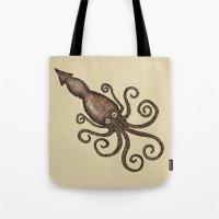 kraken Tote Bags featuring Kraken by D.J.R.B.