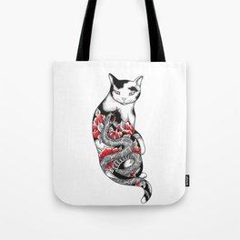 Cat in Grey Snake Tattoo Tote Bag