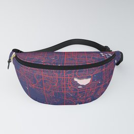 Fort Collins, CO, USA, Blue, White, City, Map Fanny Pack