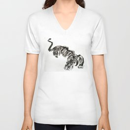 tiger watercolor japan style chinese ink Unisex V-Neck