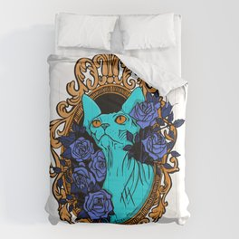 Neon Blue Hairless Sphynx Cat with Mystique Blue Roses and Golden Frame - Pet Portrait Line Tattoo Comforters
