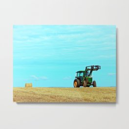 Tractor and Hay Roll on the Ridge Metal Print