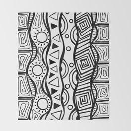 Four Waves - Freestyle Tribal Doodle Design Throw Blanket