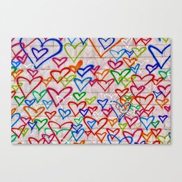 Photograph of Hearts on a Wall, street art Canvas Print