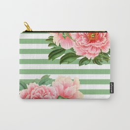 Pink Peonies Green Stripes Carry-All Pouch