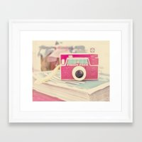 vintage camera Framed Art Prints featuring Camera by Angie Ravelo Art & Photography