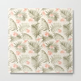 Pastel green blush coral vector tropical floral pattern Metal Print