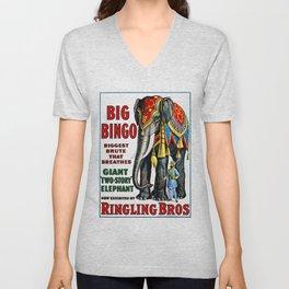 Big Bingo - Vintage 1916 Circus Poster Unisex V-Neck