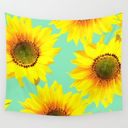 Sunflowers on a pastel green backgrond - #Society6 #buyart Wall Tapestry