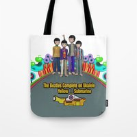yellow submarine Tote Bags featuring Yellow Submarine by The Beatles Complete On Ukulele