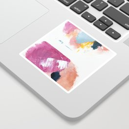 Cotton Candy: a bright, colorful abstract in pinks, blues, yellow, and white Sticker