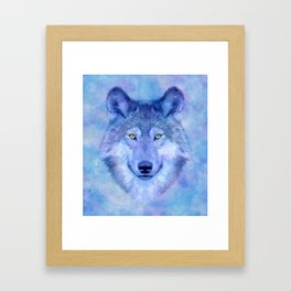 Sky blue wolf with Golden eyes Framed Art Print