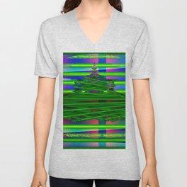 Fraktal and stripes Unisex V-Neck