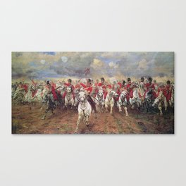 Charge of the Scots Greys at Waterloo Canvas Print