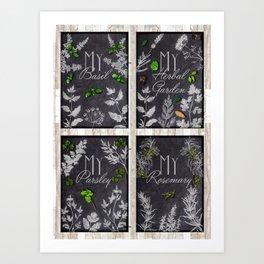 My Herbal Garden - Basic Herbs Set Art Print