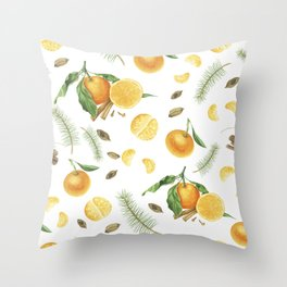 Tangerines, spices and branches of tree Throw Pillow