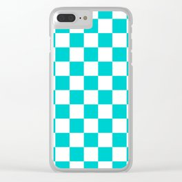 Checkered - White and Cyan Clear iPhone Case