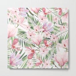 Blush pink lavender green watercolor tropical floral Metal Print