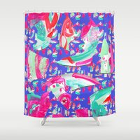 fancy Shower Curtains featuring Fancy by Caroline Sansone