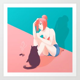 Cat Owner or Slave? Art Print