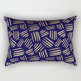Chic navy blue faux gold abstract brushstrokes Rectangular Pillow