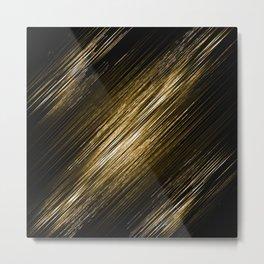 Golden festive oblique stripes on a dark background Metal Print