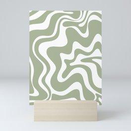 Liquid Swirl Abstract Pattern in Sage Green and White Mini Art Print