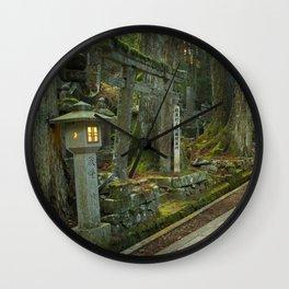 Path through Koyasan Okunoin cemetery, Wakayama Prefecture, Japan Wall Clock