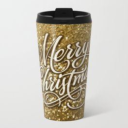 Glitter Gold Xmas Metal Travel Mug