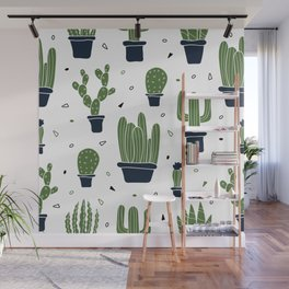 Cactus Plants Pattern- Green Wall Mural
