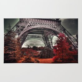 Surreal Eiffel Tower, Paris, France, red trees Rug