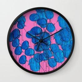 Blue Birds in Pink Wall Clock