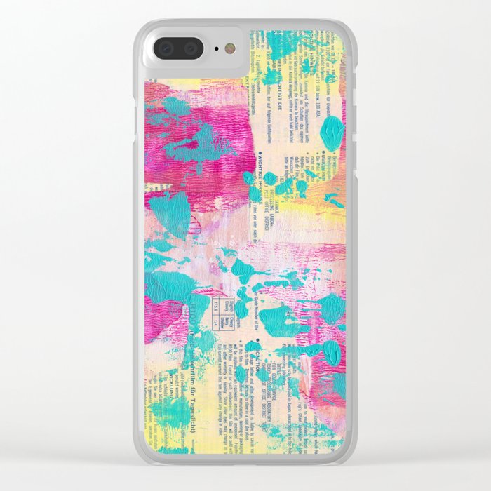 Abstract Mixed Media - Neon Clear iPhone Case