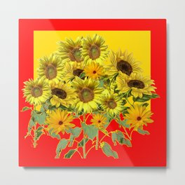 GOLDEN-RED SUNNY YELLOW SUNFLOWERS Metal Print