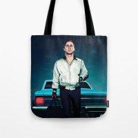 ryan gosling Tote Bags featuring 'Drive' Ryan Gosling by Studio Caro △