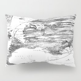 Vintage Cape Cod and NYC Steamboat Route Map BW Pillow Sham