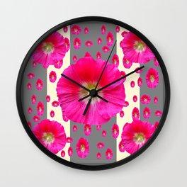 PINK-CERISE HOLLYHOCK FLOWERS  CREAM & GREY GARDEN Wall Clock