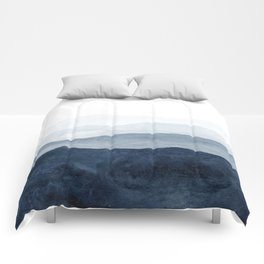 Indigo Abstract Watercolor Mountains Comforters
