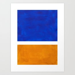 Phthalo Blue Yellow Ochre Mid Century Modern Abstract Minimalist Rothko Color Field Squares Art Print