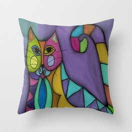 Cat of Many Colors Abstract Digital Painting  Throw Pillow