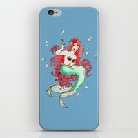 mucha iPhone & iPod Skins featuring Mucha-esque Mermaid by Beth Aucoin