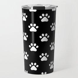 paw print black and white pattern Travel Mug