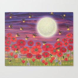 purple sky, fireflies, snails, and poppies Canvas Print