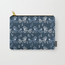 Bicycles spring cute navy pattern bike print by andrea lauren Carry-All Pouch