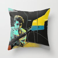 bob dylan Throw Pillows featuring Bob Dylan by Zmudart