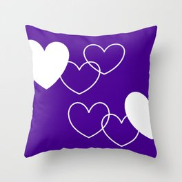 purple with white hearts Throw Pillow
