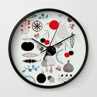 50s Wall Clocks featuring Mushroom Berries Nuts and Fruits / Classic 50s pattern by In The Modern Era
