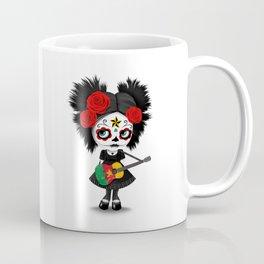 Day of the Dead Girl Playing Cameroon Flag Guitar Coffee Mug